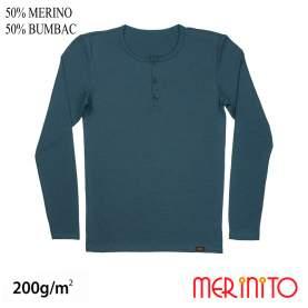 Bluza barbati Merinito Buttons 200g 50% lana merinos 50% bumbac