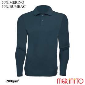Bluza barbati Merinito Polo Jersey 200g 50% lana merinos 50% bumbac